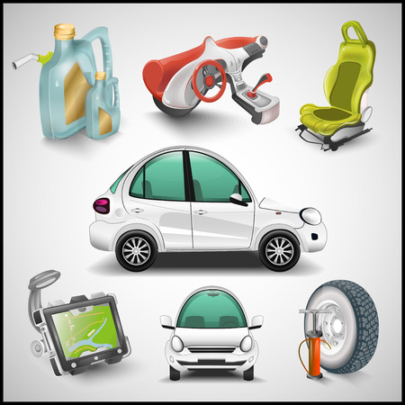 Car and accessories vector Vector