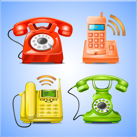 Colorful Phone icons Vector