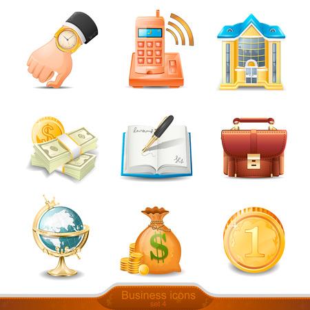 llegar tarde: Iconos de negocio conjunto 4 Vectores