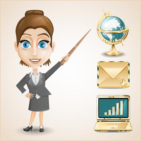 businesswoman skirt: Businesswoman with Items