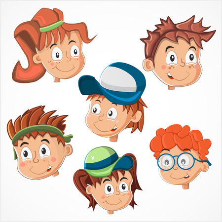 asian children: Childrens faces Illustration