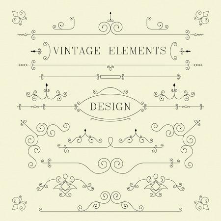 ビンテージ デザイン、罫線、フレーム、レトロな要素ベクトル