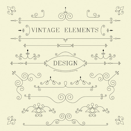 Vintage Design, Borders, Retro Elements, Frame, Vector 版權商用圖片 - 34105818