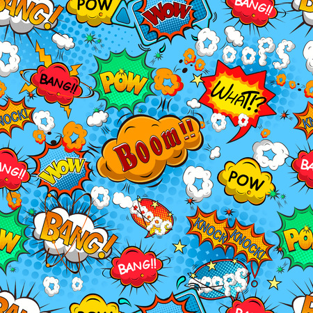 thought clouds: Comic speech bubbles seamless pattern vector Illustration