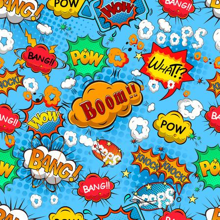 Comic speech bubbles seamless pattern vector Illustration