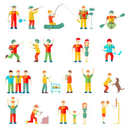 Mensen in verschillende situaties vrienden familie paar hobby vriendschappelijke relatie sport gezondheid vector Stock Illustratie