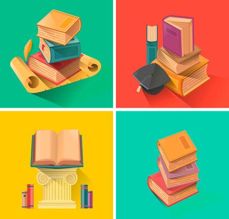 Set van boek in platte ontwerp vector
