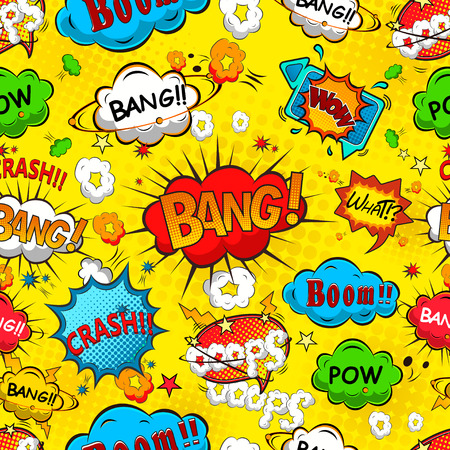 Comic speech bubbles seamless pattern vector Vettoriali