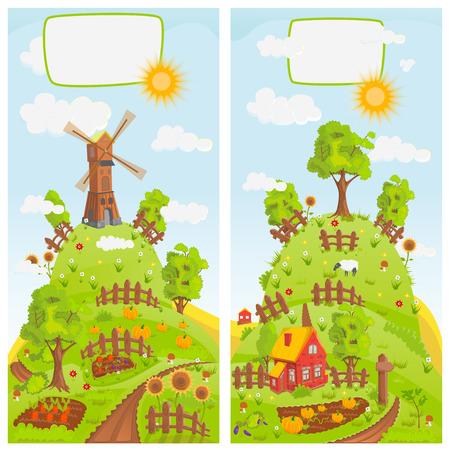 green hills: Rural landscapes vector
