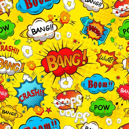 cartoon strip: Comic speech bubbles seamless pattern illustration Stock Photo