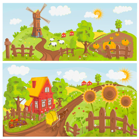 rural landscapes: Rural landscapes illustration Stock Photo