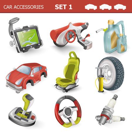 motor de carro: Accesorios para el coche ilustración