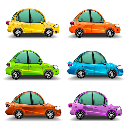 rearview: Colorful cartoon cars illustration Stock Photo