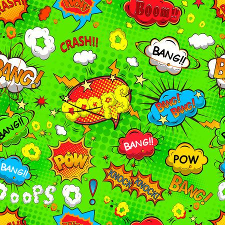 Comic speech bubbles seamless pattern vector Vectores
