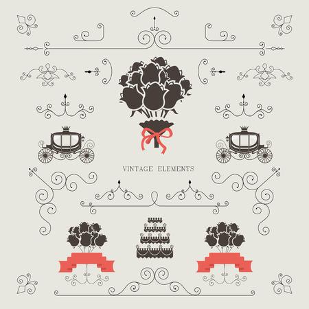 vintage scrolls: Set of vintage elements, design, wedding invitation, frame, borders vector