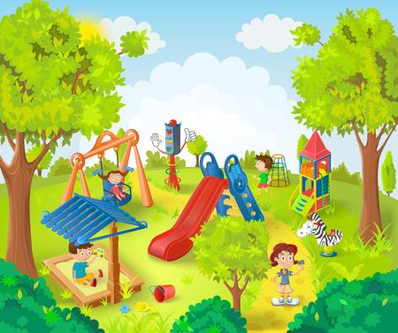 escuela infantil: Niños jugando en la ilustración vectorial parque Vectores