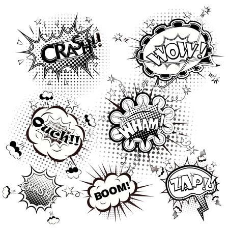 Comic speech bubbles black and white vector