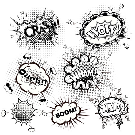 cartoon strip: Comic speech bubbles black and white vector