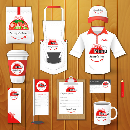 Set of restaurant corporate identity burgers uniform flyer shirt cup menu package apron coffee cup vector illustration
