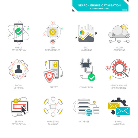 seo services: Seo internet marketing icons modern flat design vector illustration