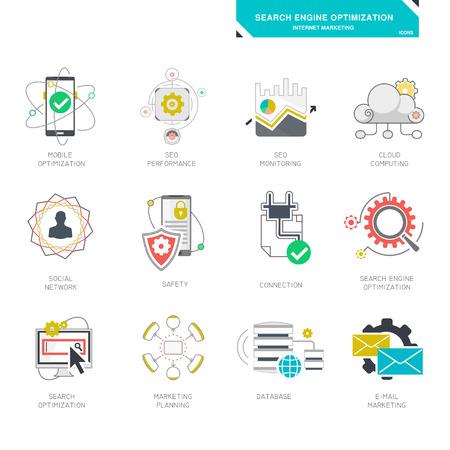 seo: Seo internet marketing icons modern flat design vector illustration