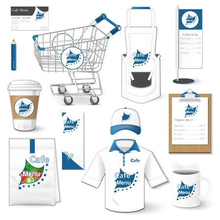 uniforme: Conjunto de identidad corporativa carrito paquete camisa volante uniforme