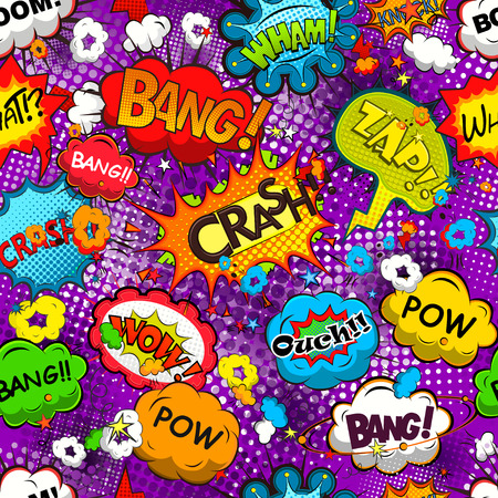 sample text: Comic speech bubbles seamless pattern vector Illustration