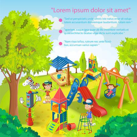 kid vector: Niños jugando en la ilustración vectorial parque Vectores