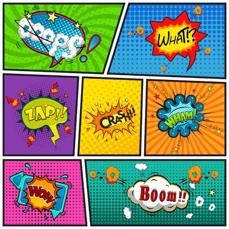 Comic tekstballonnen achtergrond gedeeld door lijnen vector Stock Illustratie