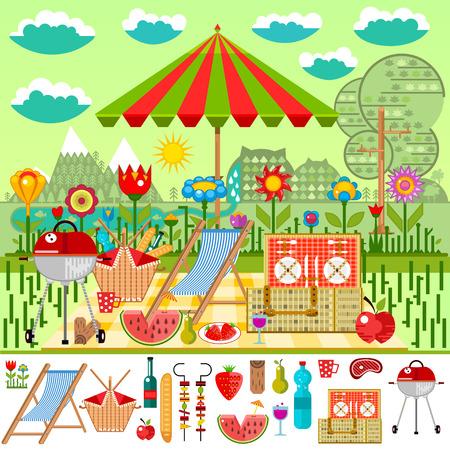 夏の山を望む草原でピクニック。食物と一緒にバーベキュー バスケット ピクニック ベクトル図の要素の設定