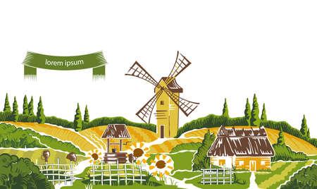 countryside: Rural landscape sketch vector illustration