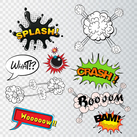 comic strip: Comic speech bubbles sound effects, cloud explosion vector