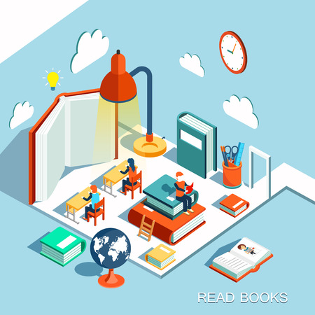 reads: The concept of learning, read books in the library, isometric flat design vector Illustration