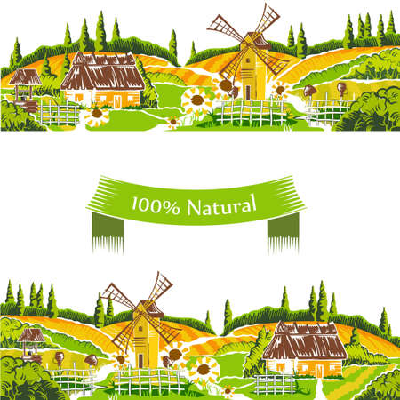 vineyards: Rural landscapes vector illustration Illustration
