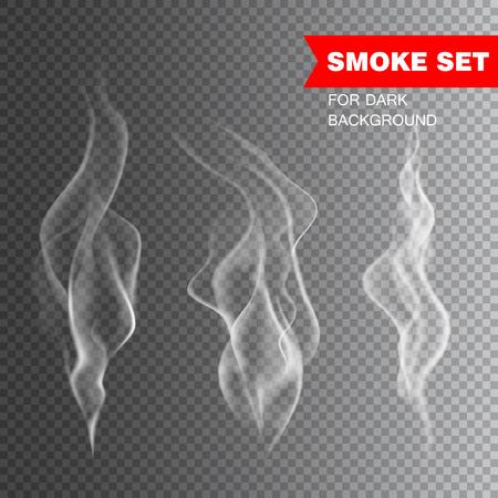 in the smoke: Aislado realista humo del cigarrillo ilustración vectorial