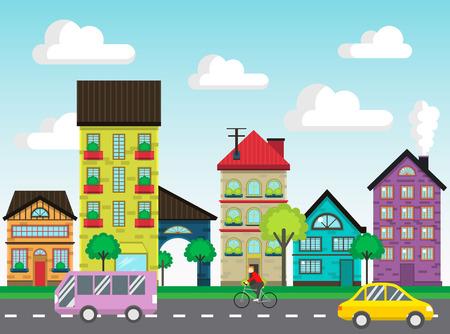 Kleurrijke huizen in de straat vector Stock Illustratie