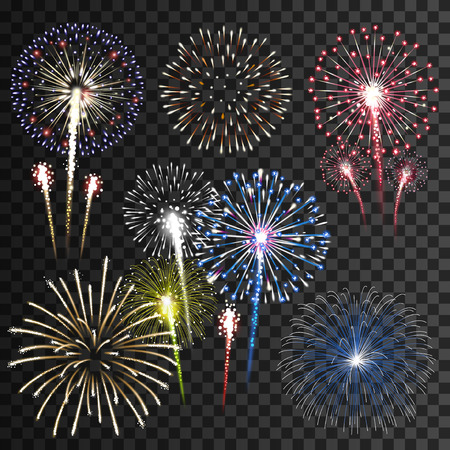 multicolored background: Set of isolated vector fireworks Illustration