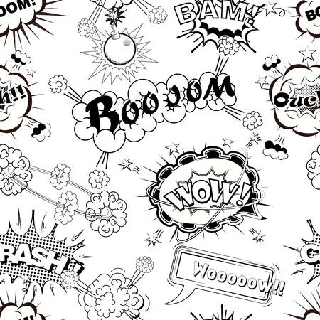 Seamless pattern comic speech bubbles sound effects, cloud explosion vector illustration Stock Illustratie