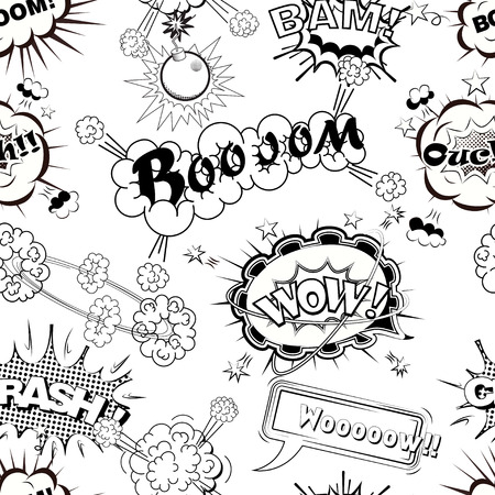 Seamless pattern comic speech bubbles sound effects, cloud explosion vector illustration Illustration