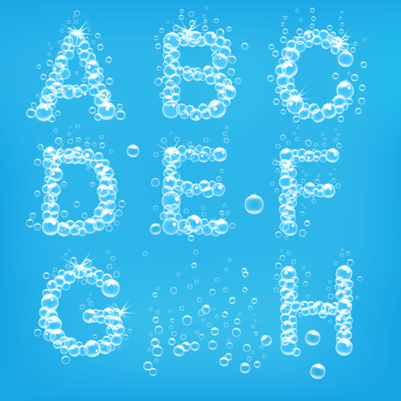 jabon: Alfabeto de burbujas de jabón ilustración vectorial Vectores