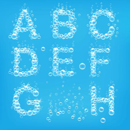 soap: Alphabet of soap bubbles vector illustration