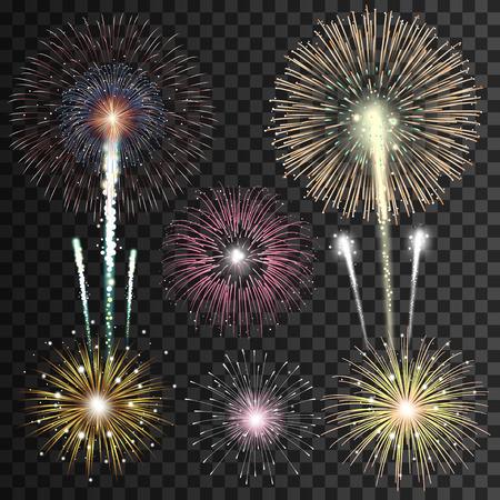 adornos navide�os: Conjunto de fuegos artificiales aislados vector realista Vectores