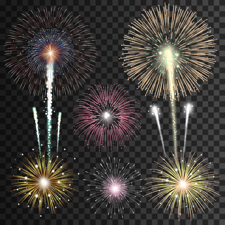 christmas in july: Set of isolated realistic vector fireworks