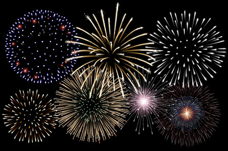 Realistic fireworks background vector 版權商用圖片 - 44906951