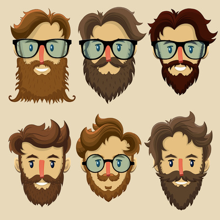 young men: Hipster characters, subculture, retro hairstyle, bearded faces