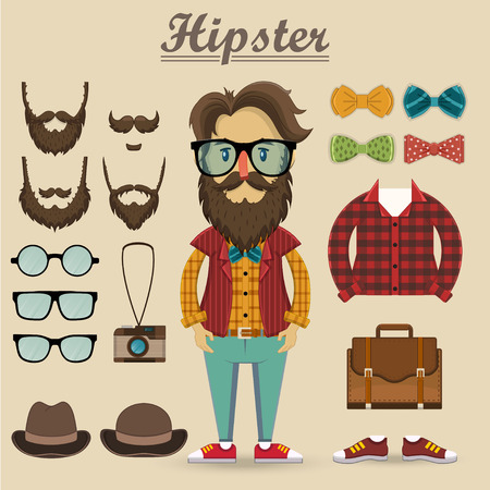 Hipster character and hipster elements, items, fashion, vector illustration