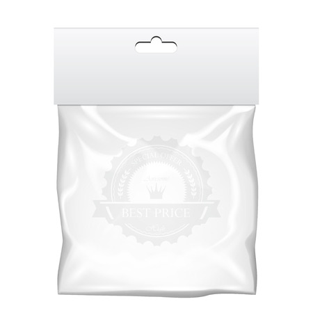 Plastic pocket bag mock up. Transparent template. Vector Illustration