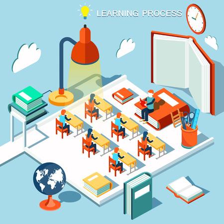 salon de clases: El concepto de aprendizaje, leer libros en la biblioteca, el aula isométrica plana diseño vectorial