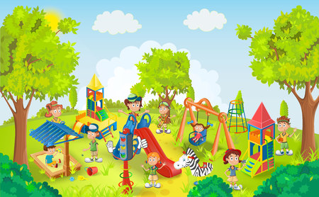 niños en area de juegos: Niños jugando en la ilustración vectorial parque Vectores