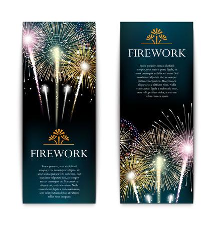 firecracker: Set of fireworks, festive vertical banner, firecracker vector illustration
